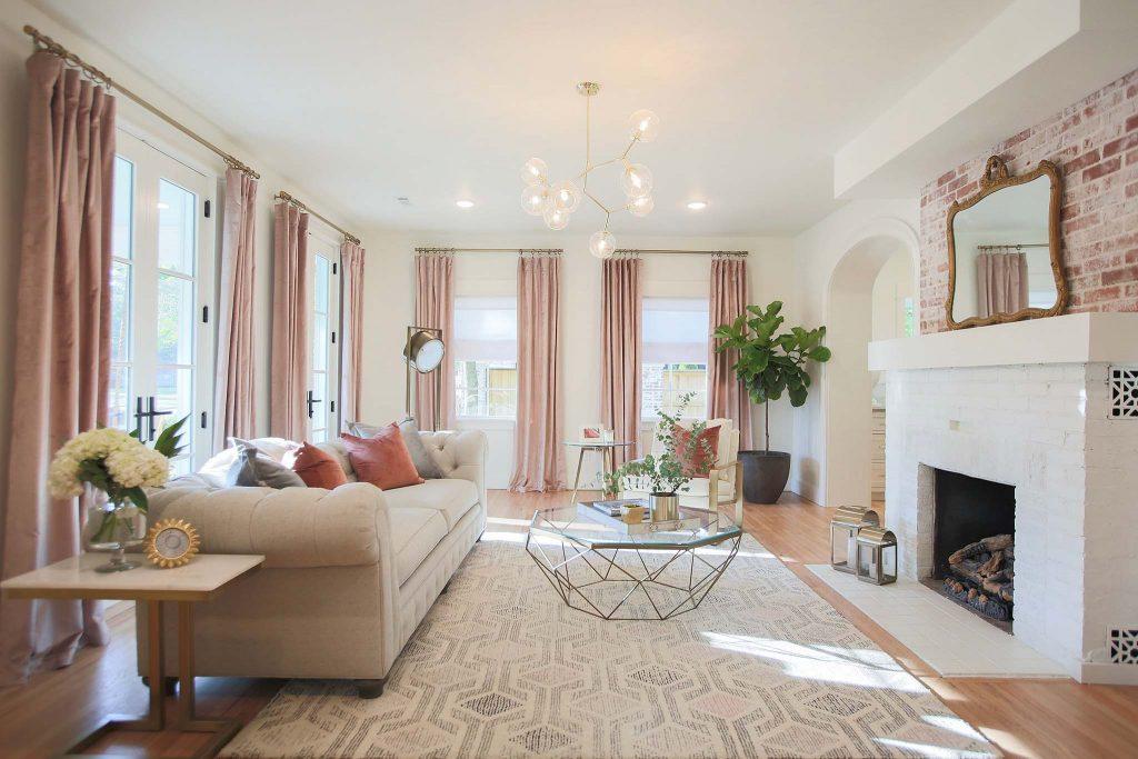 Living Room renovation on HGTV Fixer to Fabulous.